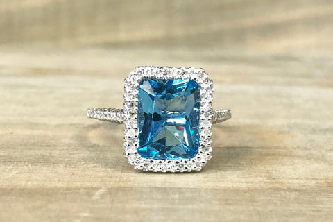 14k White Gold Diamond Pave Emerald Blue Topaz Ring