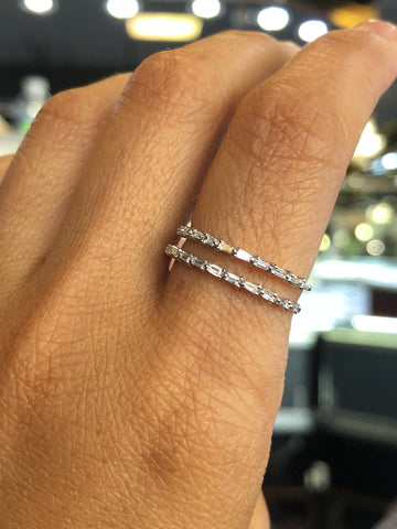 14K White Gold Diamond Baguette Double Row Stackable Band Art Deco
