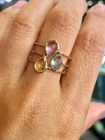 14k Yellow Gold Multi Color Pear Amethyst Topaz Ring 3 Row