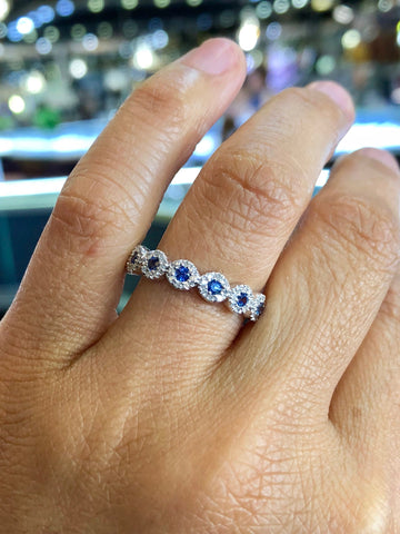 14K White Gold Diamond and Sapphire Band Halo