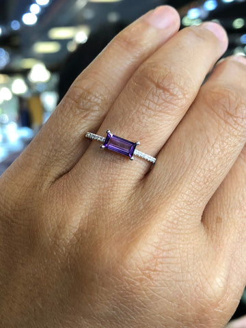 14k White Gold Emerald Shaped Amethyst and Diamond Ring Band