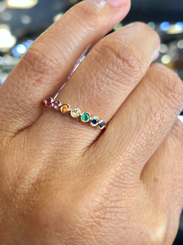 14k Yellow Gold Rainbow Multi Color Sapphire Emerald Ruby Ring Band Bezel