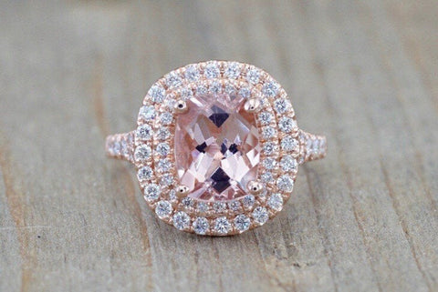 Double Halo Elongated Cushion Cut 9x7mm Morganite M3090