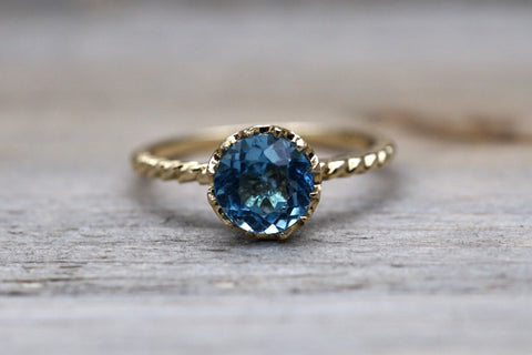 Melrose 7mm Topaz 14k Yellow Gold Round Blue Engagement Ring Crown Vintage Design Rope Classic November Birthstone