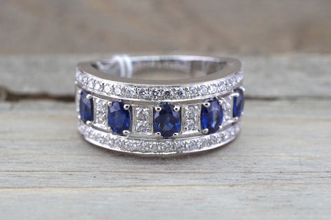 18k White Gold Oval Cut Blue Sapphire Diamond Engagement Promise Ring Anniversary Halo Ballerina Wide Large