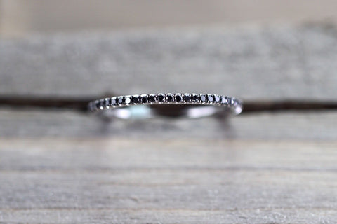 14k White Gold Black Diamond Eternity Band Ring Pave Set Classic Dainty Thin Stackable Stacking Design Style
