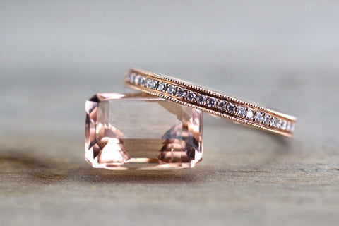 14kt Rose Gold Diamond Milgrain Etching Vintage Wedding Engagement Anniversary Band Ring Thin Dainty