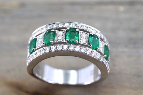 18k White Gold Oval Cut Green Natural Emerald Diamond Engagement Promise Ring Anniversary Thick Halo Ballerina Wide Large