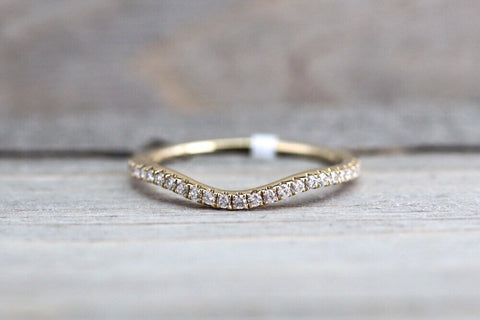14K Yellow Gold Dainty Thin Stackable Curved V Groove Diamond Engagement Wedding Promise Ring Band Arch Shaped