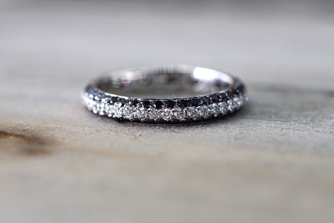 18k White Gold Eternity 3 Row White And Black Diamonds Engagement Ring Crown Vintage Design Rope Classic