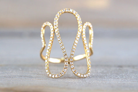 18k Yellow Gold Diamond Fashion Twirl Twist Large Cocktail Ring Band Snake Swirl Infinity Curve