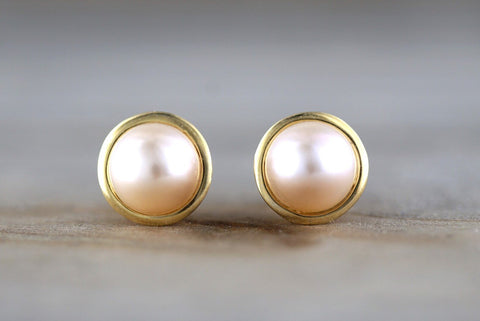 14k Yellow Classic Gold Cream Ivory Pearl Stud Post Push Back Earring Studs