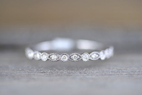 14k White Gold Diamond Vintage Milgrain Etch Etching Ring Antique Half Eternity Filigree Dainty Band