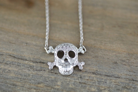 14k White Gold Skull Micro Pave Diamond 3D Dainty Pendant Charm Thin Adjustable Chain Pirate Dia de los Muertos Day of the Dead