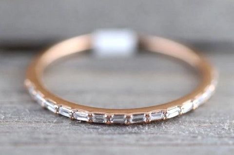 Gold Dainty Thin Baguette Rectangle Diamond Band 1mm B10018