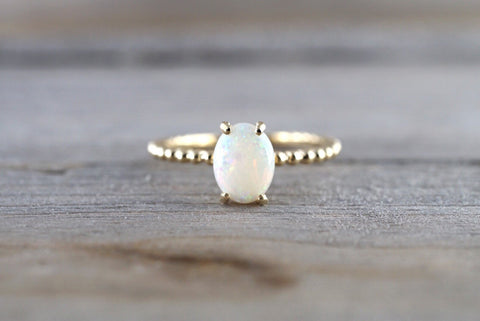 14k Gold Fire Opal Oval Bead Ring