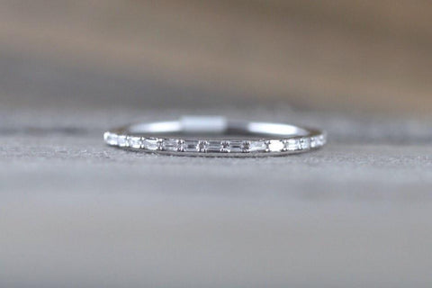 14k White Gold Dainty Thin Baguette Cut Rectangle Diamond Band Stackable Design