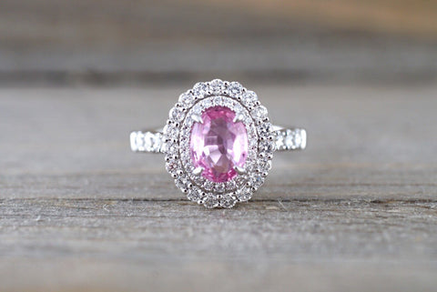 18k White Gold Oval Light Pink Sapphire Diamond Double Halo Split Shank