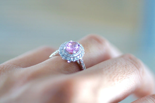 1.12 ct Pink Sapphire 18k White Gold Diamond Double Halo Split Shank Engagement Wedding Promise Ring