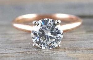 14k Rose Gold Solitaire Round Brillant Moissanite 7.5mm Engagement Promise Ring Charles & Colvard