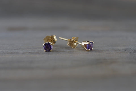 14k Solid Yellow Gold with Purple Amethyst Gemstone Earrings Studs February Birthstone