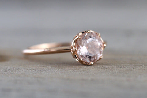 Melrose Smooth Crown Morganite Ring 6mm