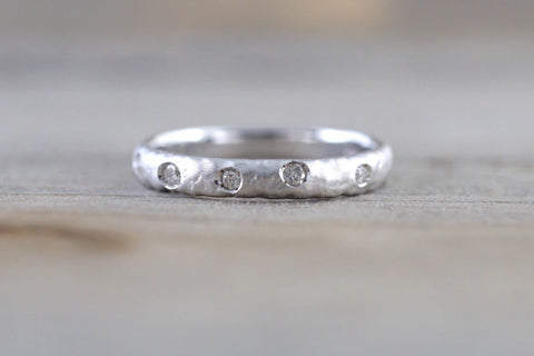 14k Solid White Gold Diamond Hammered Ring Band Matte Brushed
