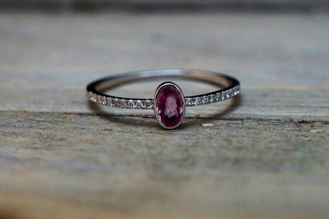 14k White Gold Oval Pink Sapphire Bezel Diamond Engagement Promise Ring