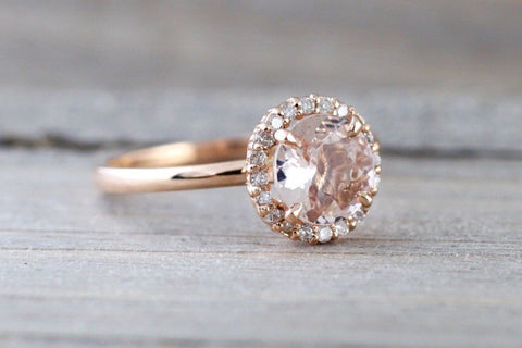 14k Rose Gold Round 6mm Morganite Pink Peach Champagne Beige Diamond Halo Engagement Ring Crown Vintage