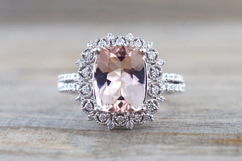 18k White Gold Floral Double Halo Cushion Morganite Ring