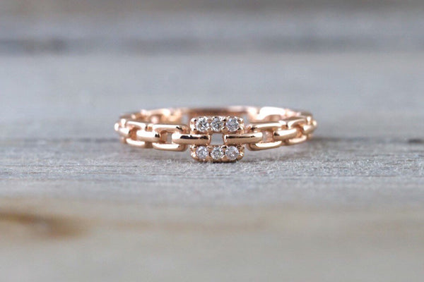 14k Solid Rose Gold Diamond Belt Chain Midi Pinky Ring Square Fashion Band