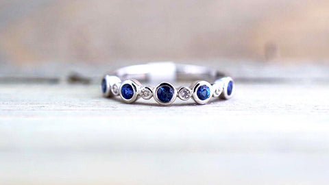 14K White Gold Vintage Classic Multi Side Face Diamond with Sapphire Ring Wedding Engagement Ring Milgrain Etching Band