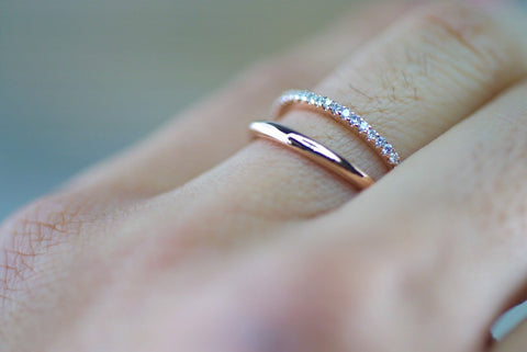 14kt Rose Gold Diamond Double Row Fashion Fun Love Space Gap Ring Band Stacking Stackable Stack Dainty