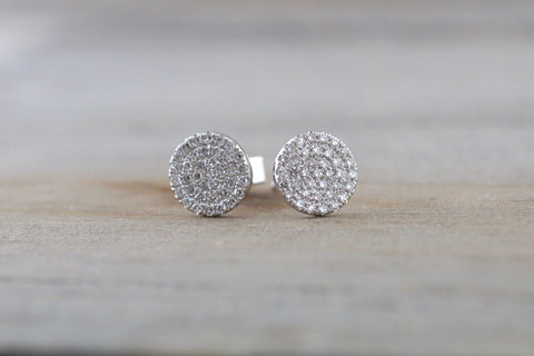 14k White Gold Disk Design Circle Infinite Diamond Earrings Stud Post Studs Round Micro Pave Flat