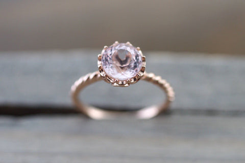 8mm Melrose Gold Round Morganite Ring Crown Vintage Design