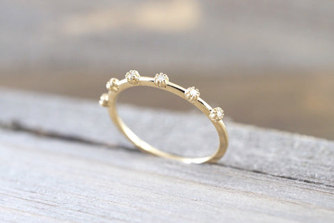 14kt Yellow Gold Diamond Vine Large Ring Crown Vintage Design Rope Classic Milgrain Infinity Bezel Band