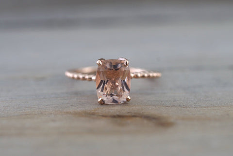 14k Rose Gold Elongated Cushion Cut Pink Peach Morganite Prong Engagement Promise Ring Rope