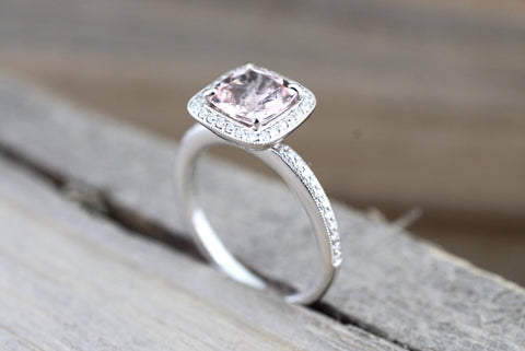 18k White Gold Diamond Cushion Halo Morganite Ring