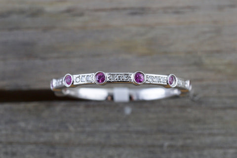 14k White Gold Thin Round Cut Ruby And Diamond Wedding Engagement Pave Stackable Stack Promise Ring Anniversary Band