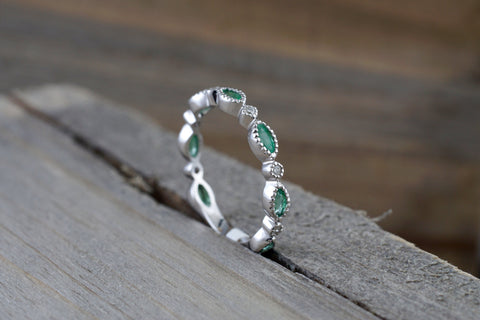 14k White Gold Marquis Cut Green Emerald And Round Brilliant Cut Diamond Engagement Pave Stackable Stacking Promise Ring Anniversary