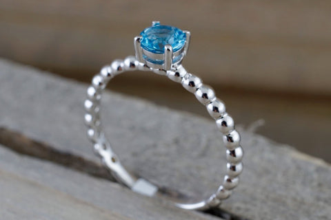 14k White Gold Round Cut Blue Topaz Beaded Band Engagement Pave Stackable Stacking Promise Ring Anniversary