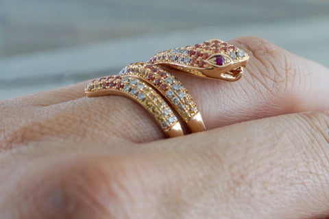 18k Rose Gold Diamond Snake Cocktail Ring Band Snake Swirl Infinity Curve Sapphire