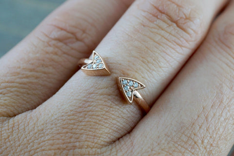 14k Solid Rose Gold Diamond Double Arrow Open Triangle Tri Pyramidmid Fashion Ring Band Love