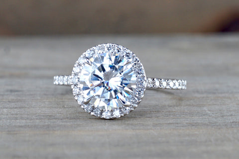 Round Halo Moissanite Diamond Ring