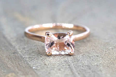 East West Cushion Morganite and Diamond Ring