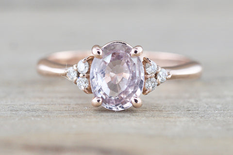Pink Sapphire GIA Certified Gemstone on Rose Gold Diamond Ring
