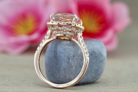Cushion Morganite Diamond Halo Ring 10x10mm M3088