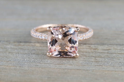 14k Rose Gold Encrusted Under Halo Micro Pave 3 Face Diamond Cushion Morganite Ring  9x9 Solitaire