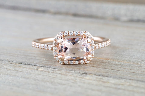 Cushion Morganite 14 Karat Rose Gold Sideways Diamond Halo Engagement Anniversary Promise Wedding Ring Band East West