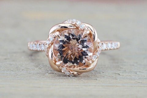 Custom Rope Twist Halo Morganite Diamond Round